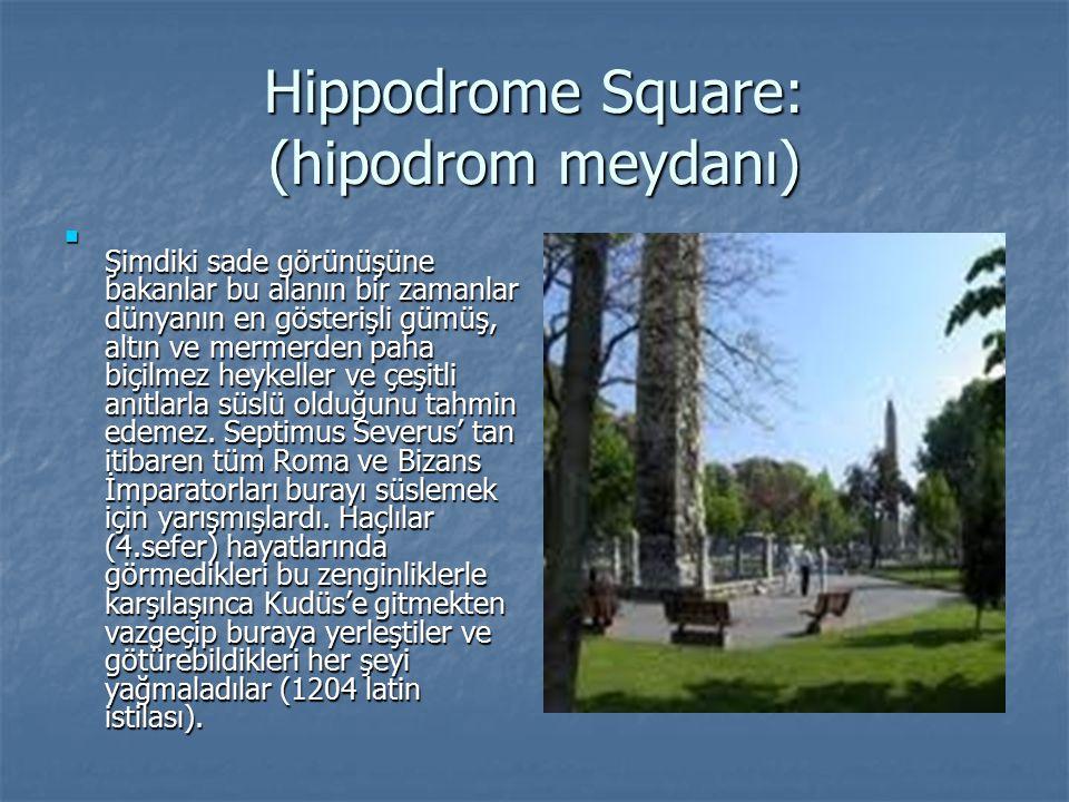 Hippodrome Square: (hipodrom meydanı) Şimdiki sade görünüşüne bakanlar bu alanın bir zamanlar dünyanın en gösterişli gümüş, altın ve mermerden paha bi