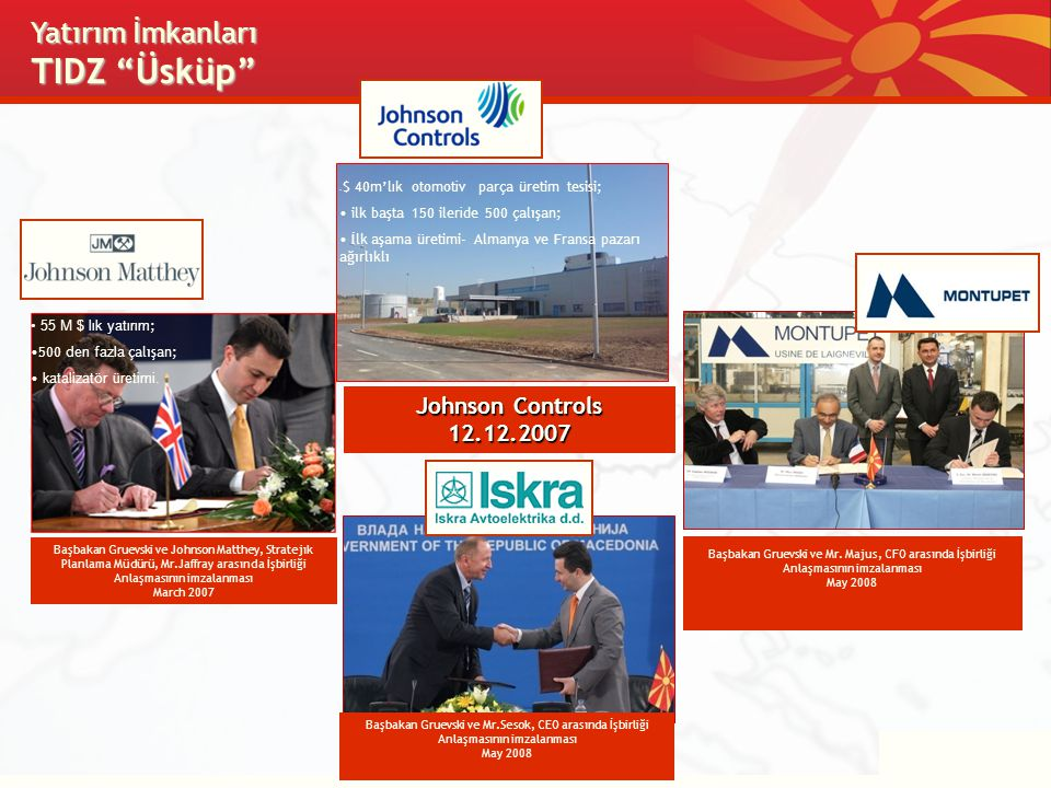 Başbakan Gruevski ve Johnson Matthey, Stratejık Planlama Müdürü, Mr.Jaffray arasında İşbirliği Anlaşmasının imzalanması March 2007 Yatırım İmkanları T