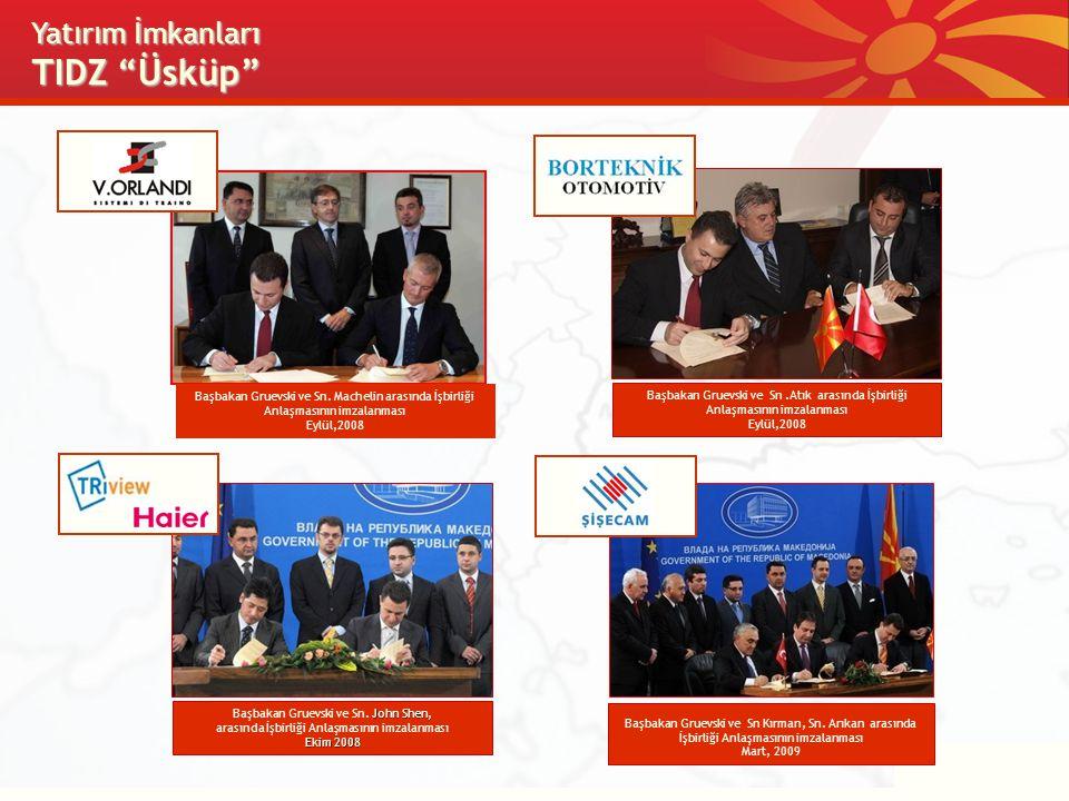 """Yat ı r ı m İmkanları TIDZ """"Üsküp"""" Başbakan Gruevski ve Sn.Atık arasında İşbirliği Anlaşmasının imzalanması Eylül,2008 John Shen, Başbakan Gruevski ve"""