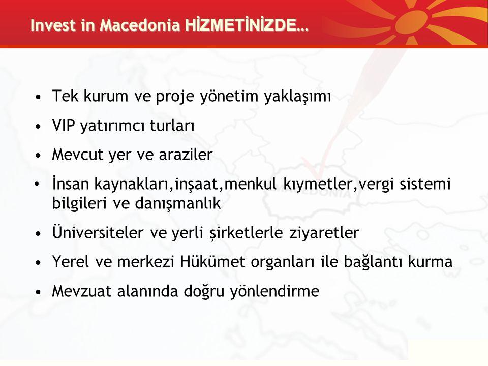 Invest in Macedonia HİZMETİNİZDE … Tek kurum ve proje y ö netim yaklaşımı VIP yatırımcı turları Mevcut yer ve araz i ler İ nsan kaynakları,inşaat,menk