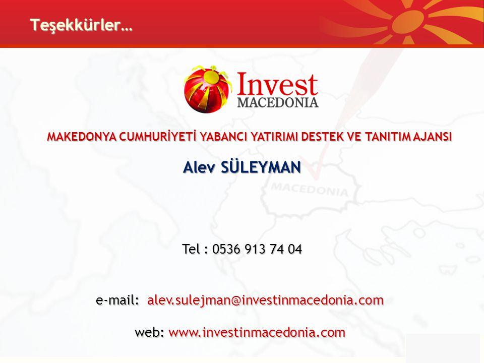 Teşekkürler… MAKEDONYA CUMHURİYETİ YABANCI YATIRIMI DESTEK VE TANITIM AJANSI Tel : 0536 913 74 04 e-mail: alev.sulejman@investinmacedonia.com web: www