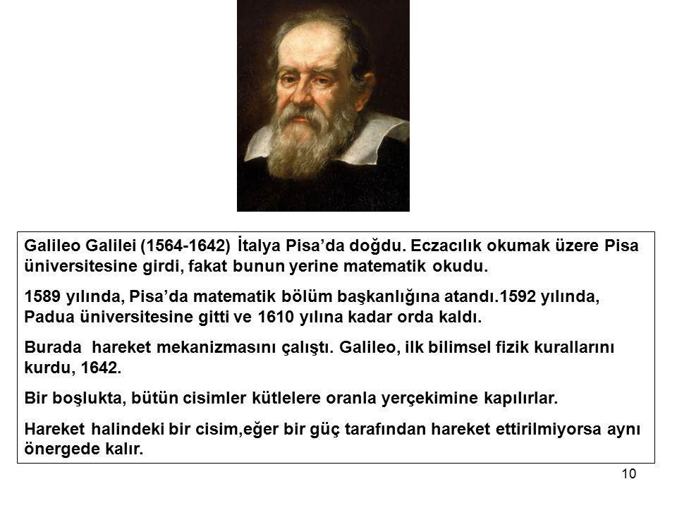 10 Galileo Galilei (1564-1642) İtalya Pisa'da doğdu. Eczacılık okumak üzere Pisa üniversitesine girdi, fakat bunun yerine matematik okudu. 1589 yılınd