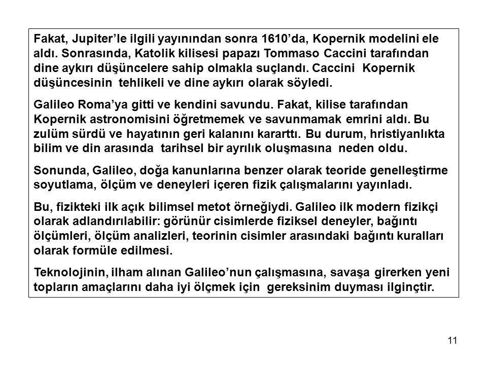 11 Fakat, Jupiter'le ilgili yayınından sonra 1610'da, Kopernik modelini ele aldı. Sonrasında, Katolik kilisesi papazı Tommaso Caccini tarafından dine