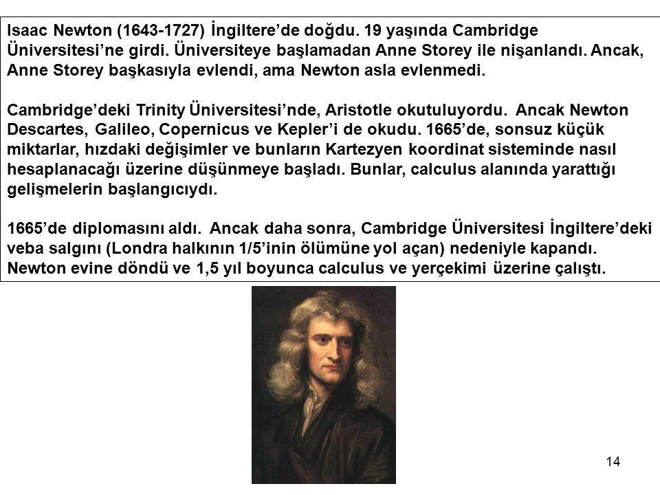 14 Isaac Newton (1643-1727) İngiltere'de doğdu. 19 yaşında Cambridge Üniversitesi'ne girdi. Üniversiteye başlamadan Anne Storey ile nişanlandı. Ancak,