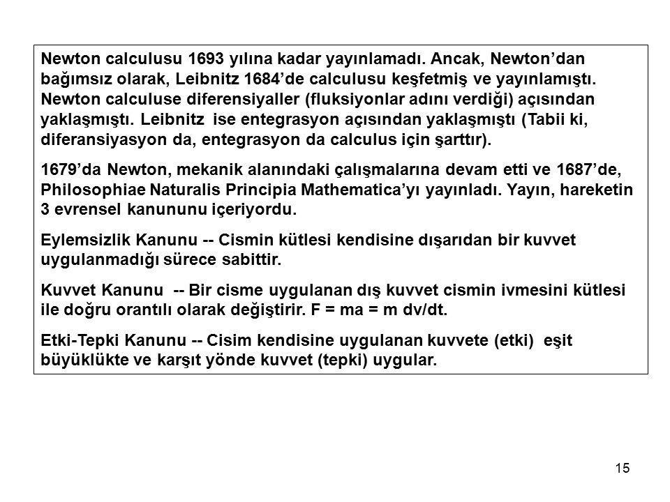 15 Newton calculusu 1693 yılına kadar yayınlamadı. Ancak, Newton'dan bağımsız olarak, Leibnitz 1684'de calculusu keşfetmiş ve yayınlamıştı. Newton cal