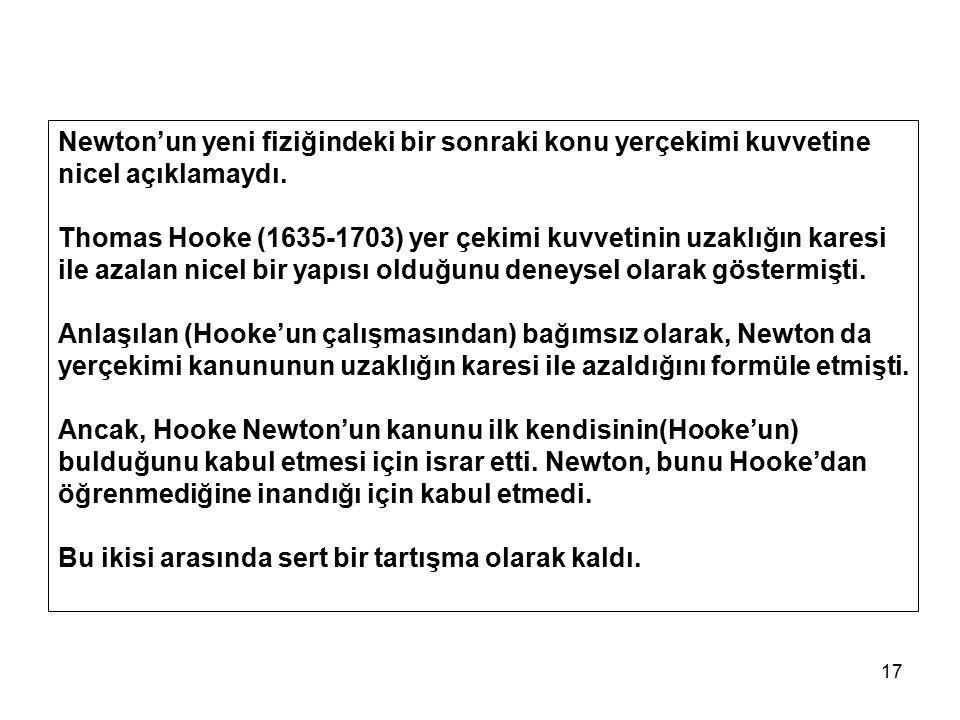 17 Newton'un yeni fiziğindeki bir sonraki konu yerçekimi kuvvetine nicel açıklamaydı. Thomas Hooke (1635-1703) yer çekimi kuvvetinin uzaklığın karesi