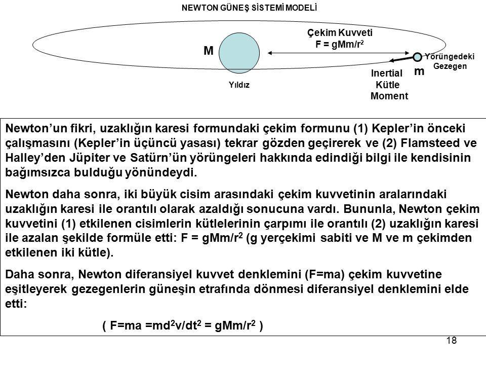 18 Newton'un fikri, uzaklığın karesi formundaki çekim formunu (1) Kepler'in önceki çalışmasını (Kepler'in üçüncü yasası) tekrar gözden geçirerek ve (2