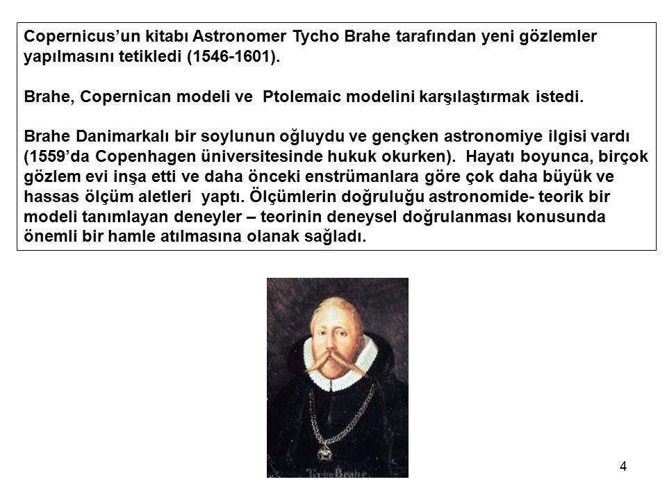 4 Copernicus'un kitabı Astronomer Tycho Brahe tarafından yeni gözlemler yapılmasını tetikledi (1546-1601). Brahe, Copernican modeli ve Ptolemaic model