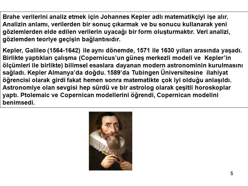 5 Brahe verilerini analiz etmek için Johannes Kepler adlı matematikçiyi işe alır. Analizin anlamı, verilerden bir sonuç çıkarmak ve bu sonucu kullanar
