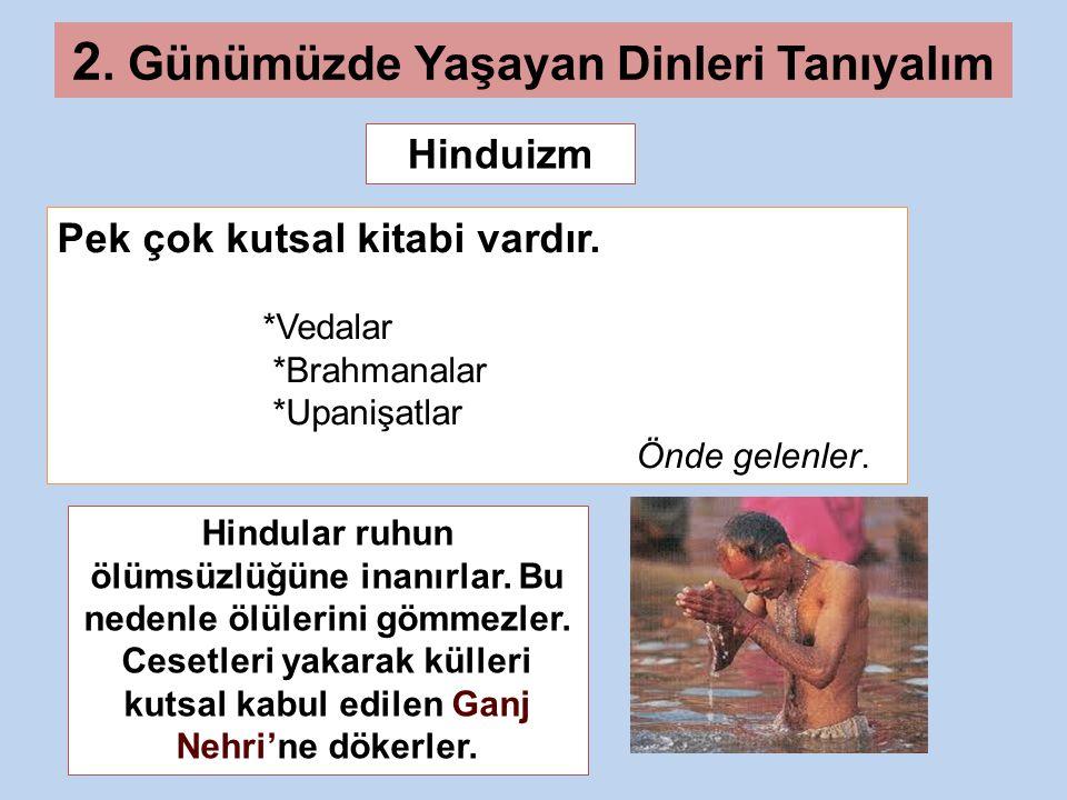 Hinduizm 2.Günümüzde Yaşayan Dinleri Tanıyalım Pek çok kutsal kitabi vardır.