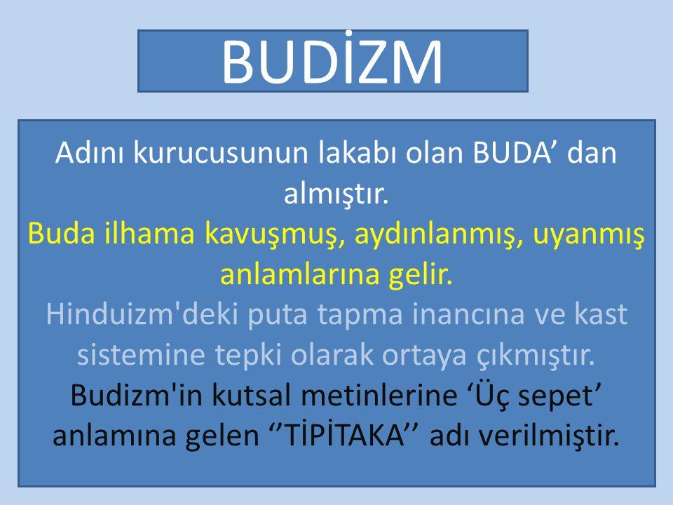 3/28/2015 BUDİZM Adını kurucusunun lakabı olan BUDA' dan almıştır.