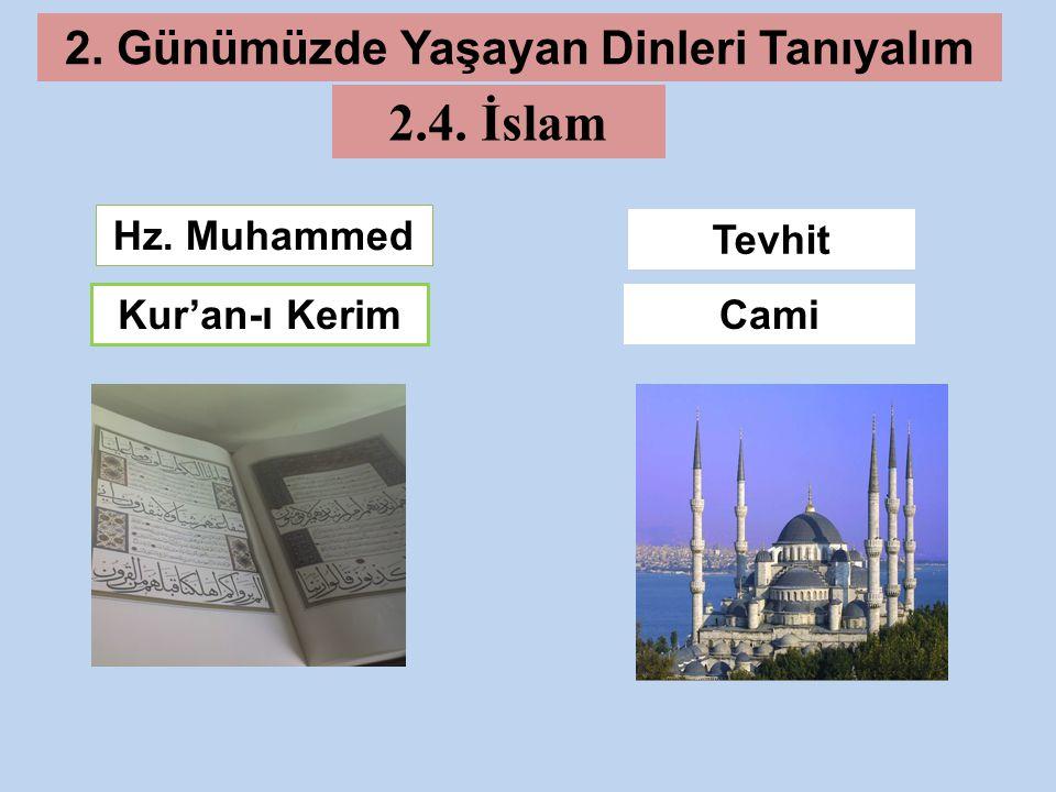 Kur'an-ı Kerim Tevhit Hz. Muhammed Cami 2. Günümüzde Yaşayan Dinleri Tanıyalım 2.4. İslam