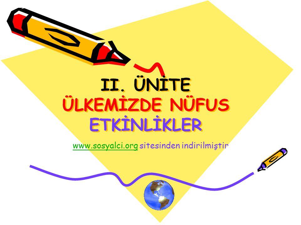 II. ÜNİTE ÜLKEMİZDE NÜFUS ETKİNLİKLER www.sosyalci.orgwww.sosyalci.org sitesinden indirilmiştir