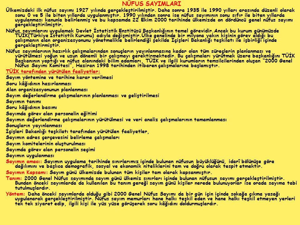 NÜFUS SAYIMLARI Ülkemizdeki ilk nüfus sayımı 1927 yılında gerçekleştirilmiştir. Daha sonra 1935 ile 1990 yılları arasında düzenli olarak sonu 0 ve 5 i