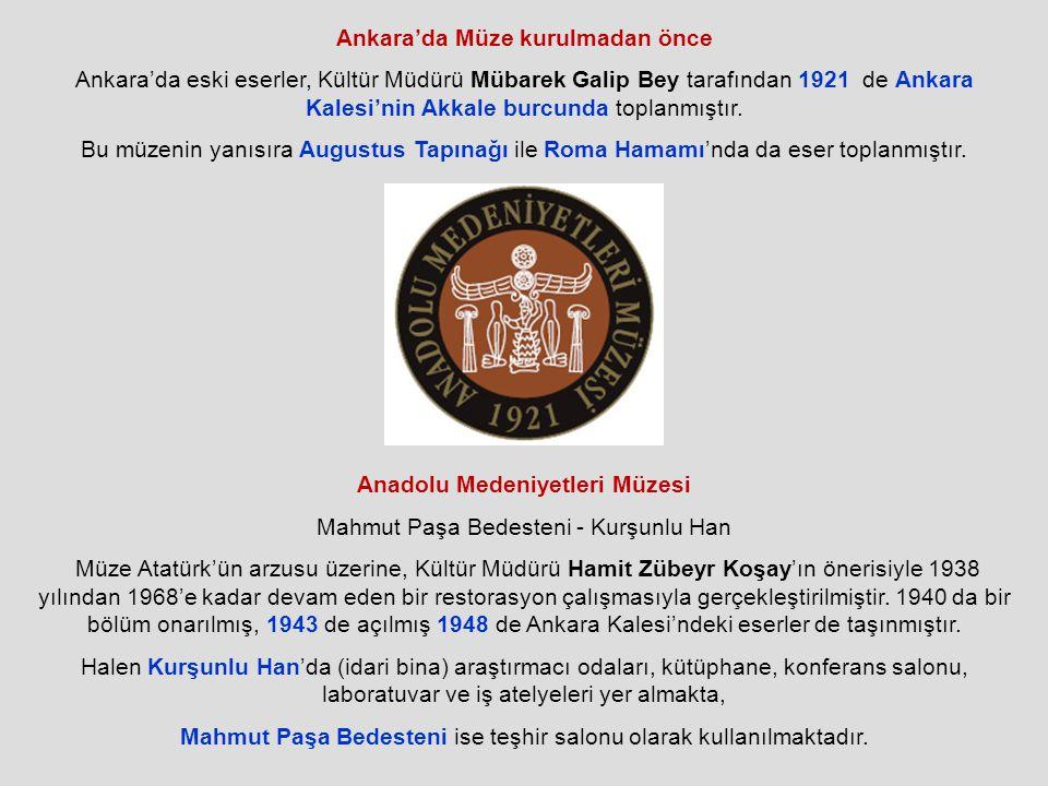 Ankara'da Müze kurulmadan önce Ankara'da eski eserler, Kültür Müdürü Mübarek Galip Bey tarafından 1921 de Ankara Kalesi'nin Akkale burcunda toplanmıştır.