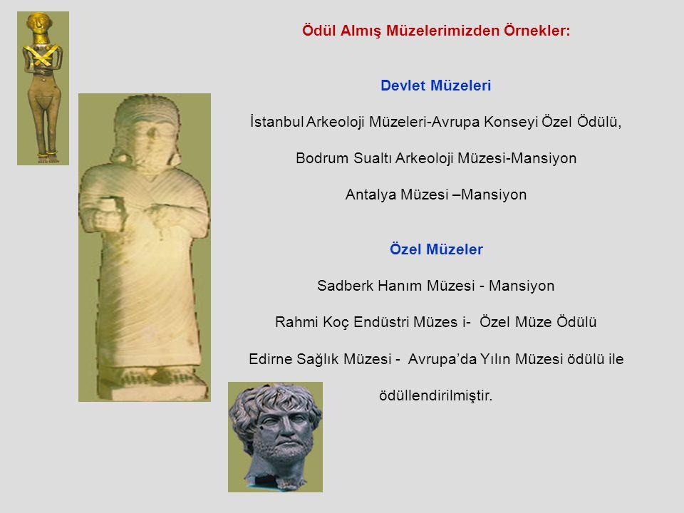 Ödül Almış Müzelerimizden Örnekler: Devlet Müzeleri İstanbul Arkeoloji Müzeleri-Avrupa Konseyi Özel Ödülü, Bodrum Sualtı Arkeoloji Müzesi-Mansiyon Antalya Müzesi –Mansiyon Özel Müzeler Sadberk Hanım Müzesi - Mansiyon Rahmi Koç Endüstri Müzes i- Özel Müze Ödülü Edirne Sağlık Müzesi - Avrupa'da Yılın Müzesi ödülü ile ödüllendirilmiştir.