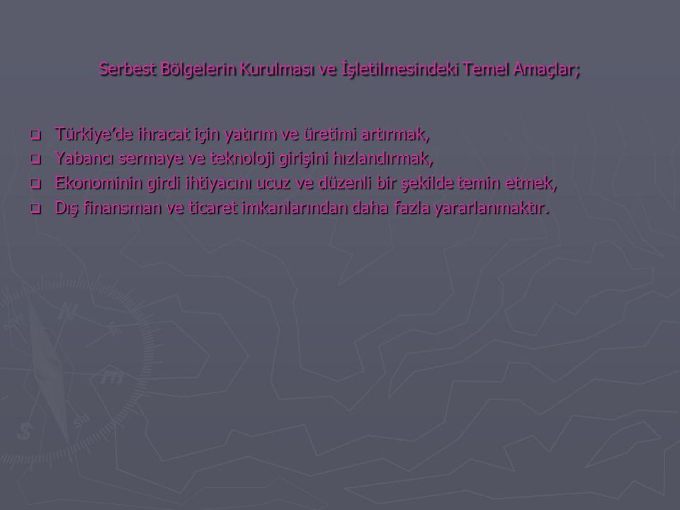 Serbest Bölgelerin Kurulması ve İşletilmesindeki Temel Amaçlar;  Türkiye'de ihracat için yatırım ve üretimi artırmak,  Yabancı sermaye ve teknoloji girişini hızlandırmak,  Ekonominin girdi ihtiyacını ucuz ve düzenli bir şekilde temin etmek,  Dış finansman ve ticaret imkanlarından daha fazla yararlanmaktır.