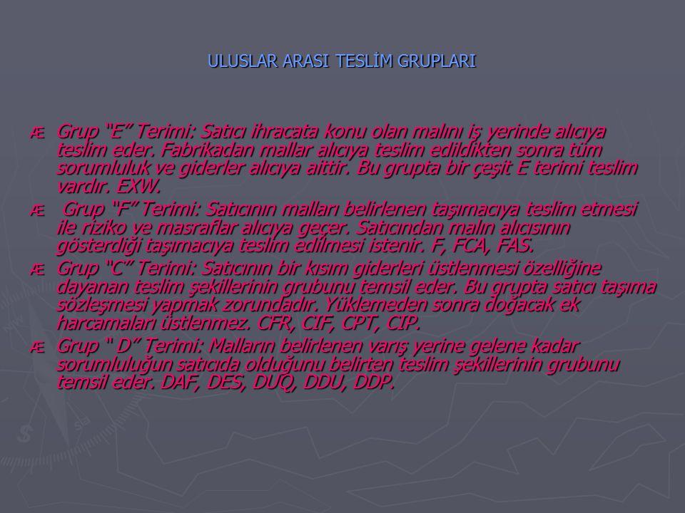 ULUSLAR ARASI TESLİM GRUPLARI Æ Grup E Terimi: Satıcı ihracata konu olan malını iş yerinde alıcıya teslim eder.