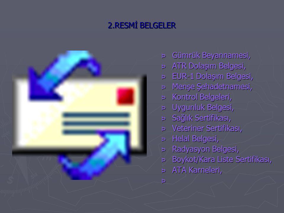 2.RESMİ BELGELER Þ Gümrük Beyannamesi, Þ ATR Dolaşım Belgesi, Þ EUR-1 Dolaşım Belgesi, Þ Menşe Şehadetnamesi, Þ Kontrol Belgeleri, Þ Uygunluk Belgesi, Þ Sağlık Sertifikası, Þ Veteriner Sertifikası, Þ Helal Belgesi, Þ Radyasyon Belgesi, Þ Boykot/Kara Liste Sertifikası, Þ ATA Karneleri, Þ