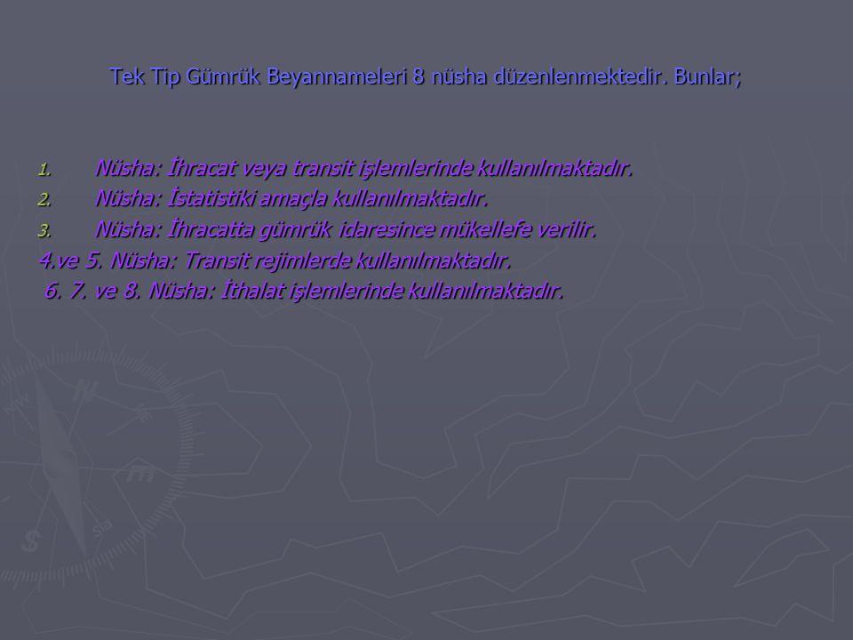 Tek Tip Gümrük Beyannameleri 8 nüsha düzenlenmektedir.