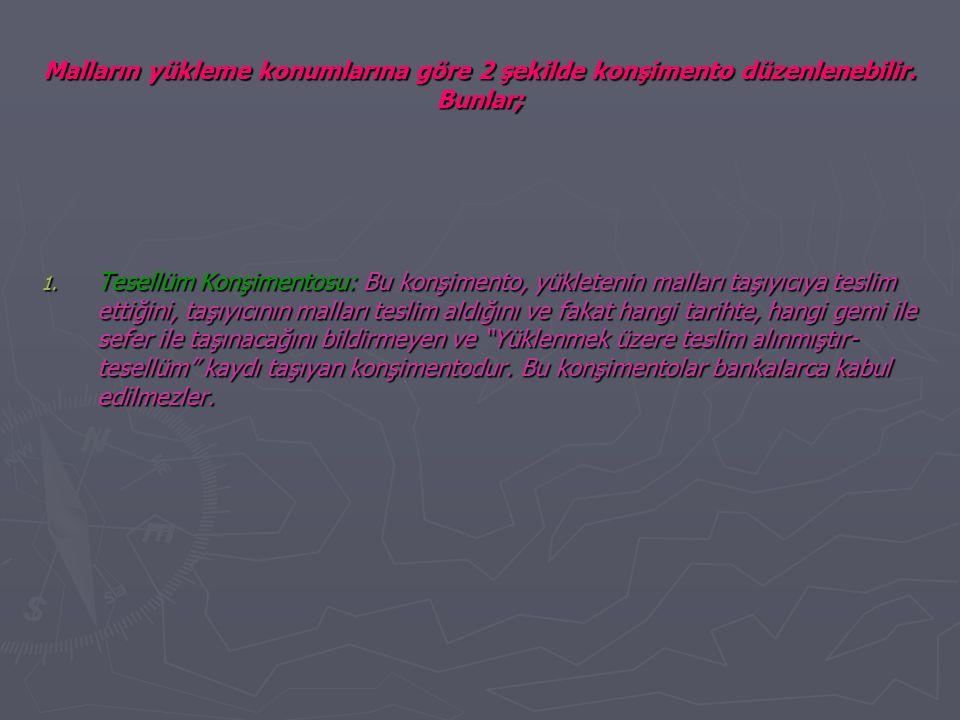 Malların yükleme konumlarına göre 2 şekilde konşimento düzenlenebilir.