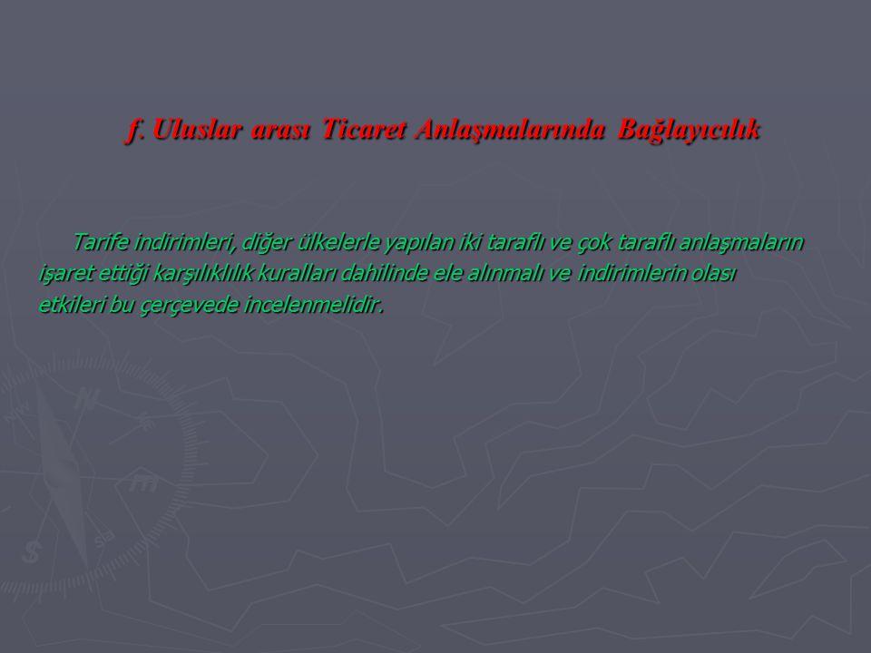 f. Uluslar arası Ticaret Anlaşmalarında Bağlayıcılık Tarife indirimleri, diğer ülkelerle yapılan iki taraflı ve çok taraflı anlaşmaların işaret ettiği