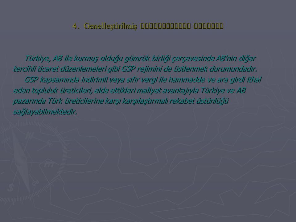 4. Genelleştirilmiş Preferanslar Sistemi Türkiye, AB ile kurmuş olduğu gümrük birliği çerçevesinde AB'nin diğer tercihli ticaret düzenlemeleri gibi GS