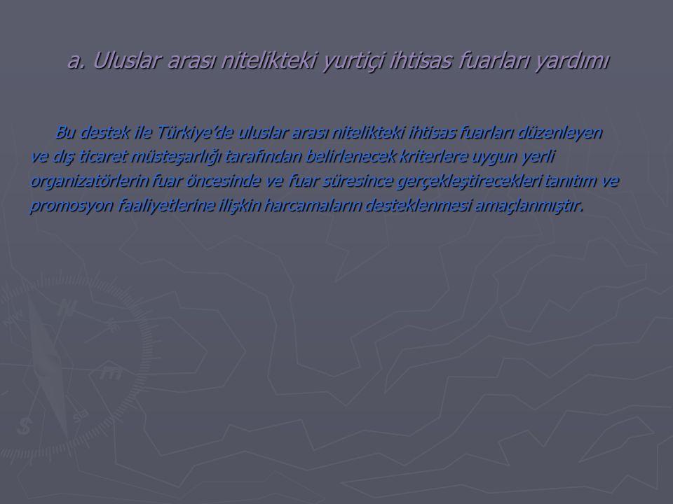 a. Uluslar arası nitelikteki yurtiçi ihtisas fuarları yardımı Bu destek ile Türkiye'de uluslar arası nitelikteki ihtisas fuarları düzenleyen ve dış ti