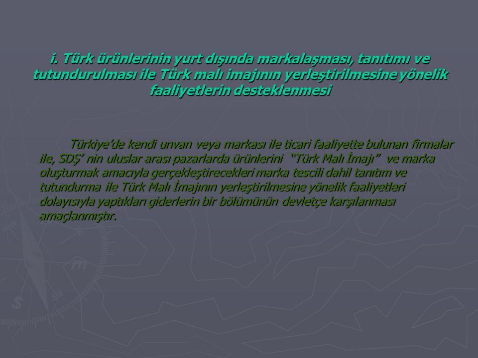 i. Türk ürünlerinin yurt dışında markalaşması, tanıtımı ve tutundurulması ile Türk malı imajının yerleştirilmesine yönelik faaliyetlerin desteklenmesi