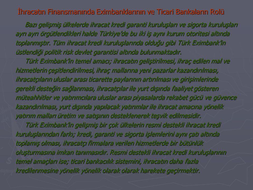 İhracatın Finansmanında Eximbanklarının ve Ticari Bankaların Rolü Bazı gelişmiş ülkelerde ihracat kredi garanti kuruluşları ve sigorta kuruluşları ayrı ayrı örgütlendikleri halde Türkiye'de bu iki iş aynı kurum otoritesi altında toplanmıştır.