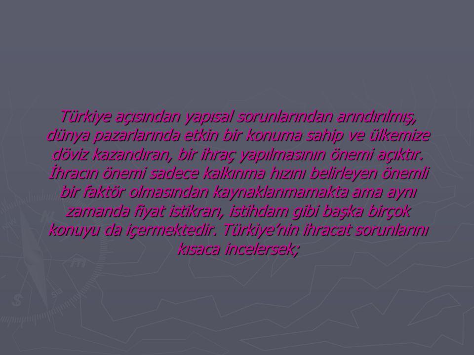 Türkiye açısından yapısal sorunlarından arındırılmış, dünya pazarlarında etkin bir konuma sahip ve ülkemize döviz kazandıran, bir ihraç yapılmasının ö
