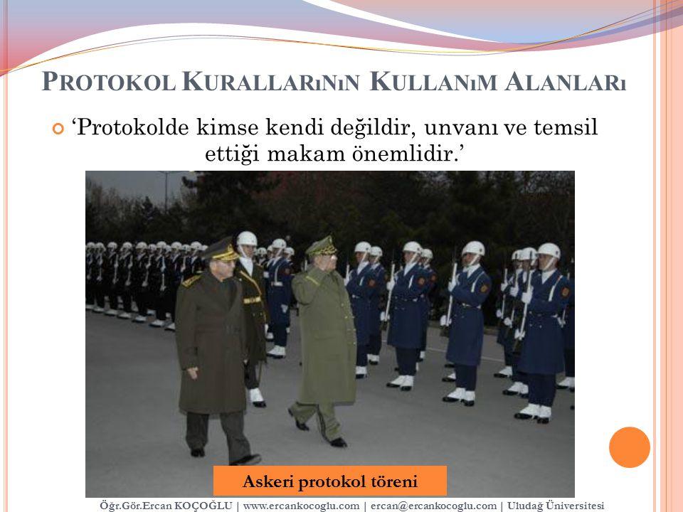 P ROTOKOL K URALLARıNıN K ULLANıM A LANLARı 'Protokolde kimse kendi değildir, unvanı ve temsil ettiği makam önemlidir.' Askeri protokol töreni Öğr.Gör