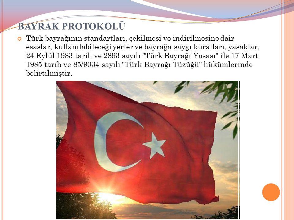 BAYRAK PROTOKOLÜ Türk bayrağının standartları, çekilmesi ve indirilmesine dair esaslar, kullanılabileceği yerler ve bayrağa saygı kuralları, yasaklar,