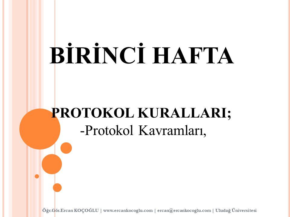 BİRİNCİ HAFTA PROTOKOL KURALLARI; -Protokol Kavramları, Öğr.Gör.Ercan KOÇOĞLU | www.ercankocoglu.com | ercan@ercankocoglu.com | Uludağ Üniversitesi