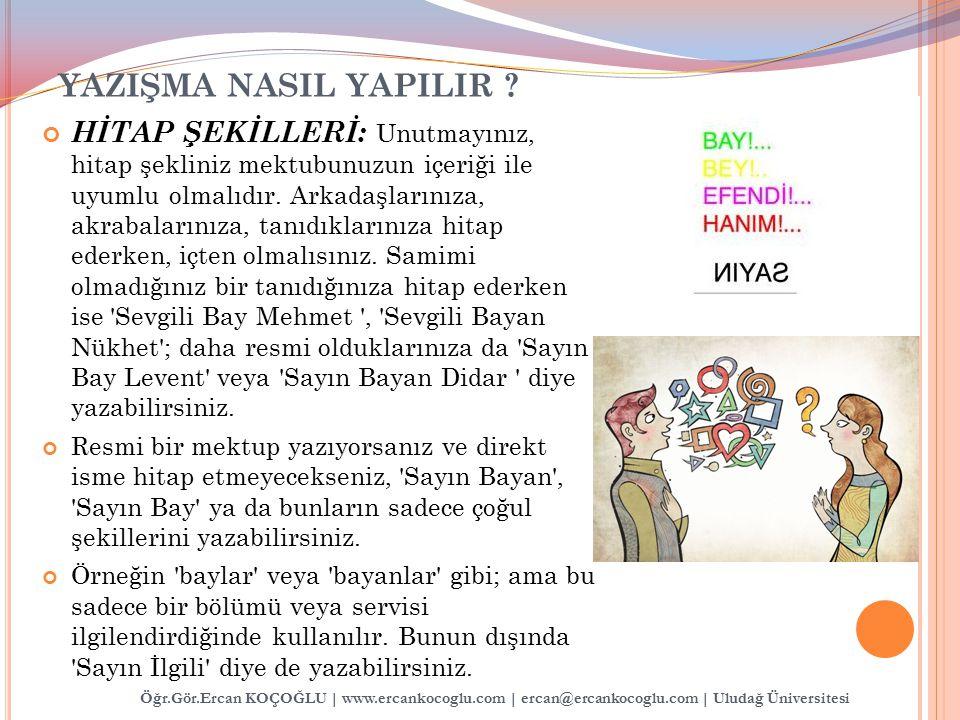 Öğr.Gör.Ercan KOÇOĞLU | www.ercankocoglu.com | ercan@ercankocoglu.com | Uludağ Üniversitesi YAZIŞMA NASIL YAPILIR ? HİTAP ŞEKİLLERİ: Unutmayınız, hita