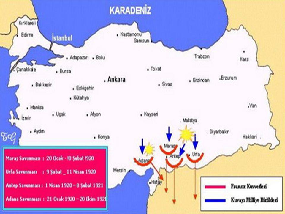 Mondros Ate ş kes Antla ş ması' ndan sonra İ ngilizler; Urfa, Antep ve Mara ş 'ı; Fransızlar ise Adana ve Çukrova dolaylarını i ş gal ettiler.