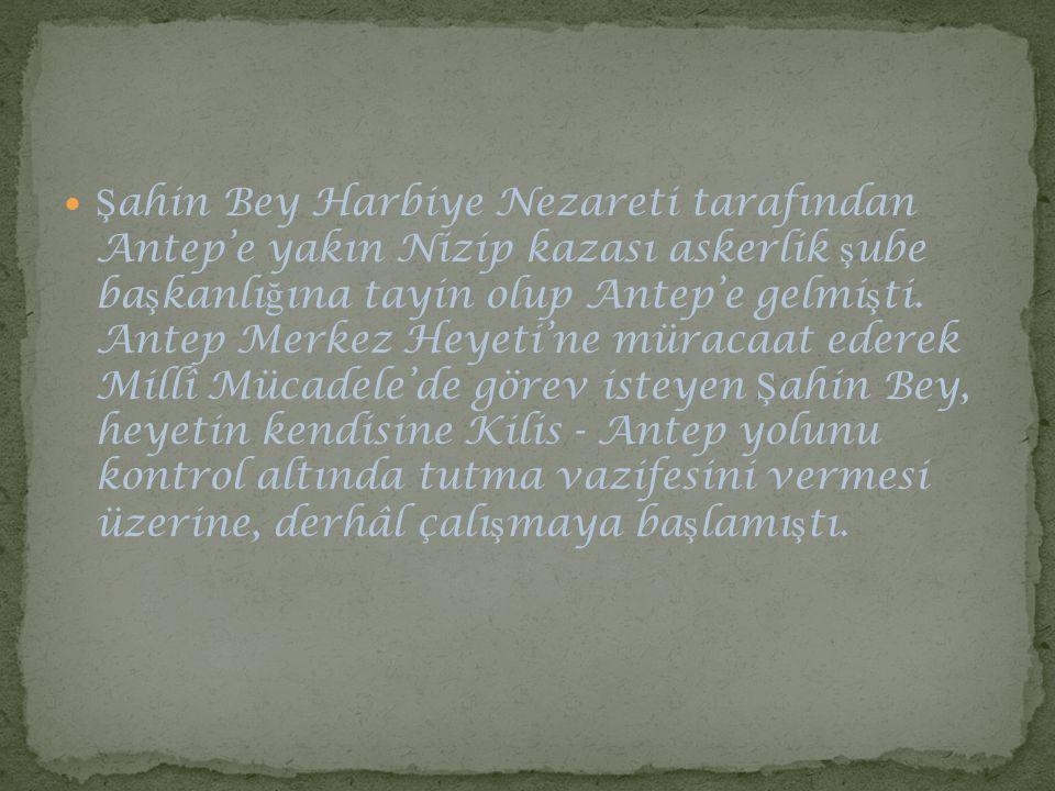 Ş ahin Bey Harbiye Nezareti tarafından Antep'e yakın Nizip kazası askerlik ş ube ba ş kanlı ğ ına tayin olup Antep'e gelmi ş ti. Antep Merkez Heyeti'n