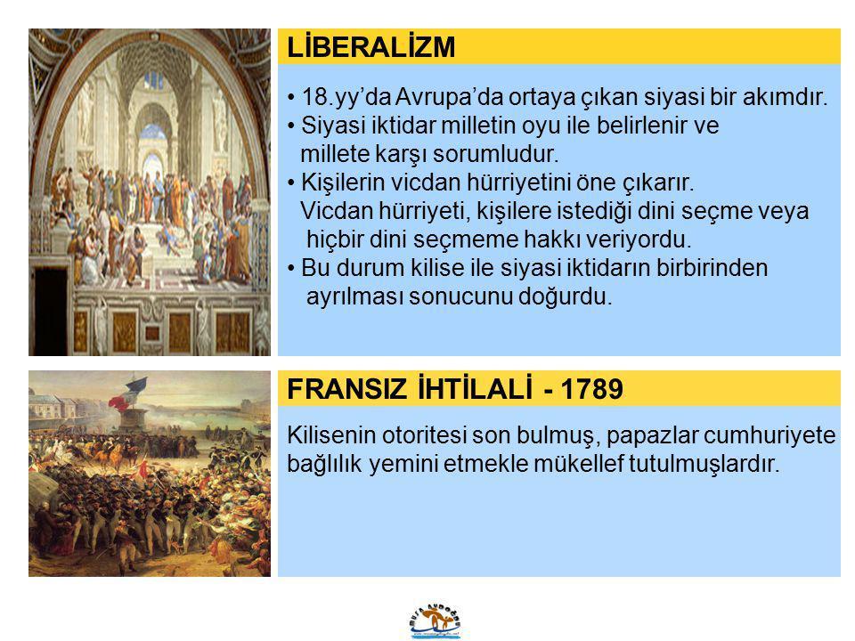 LİBERALİZM 18.yy'da Avrupa'da ortaya çıkan siyasi bir akımdır. Siyasi iktidar milletin oyu ile belirlenir ve millete karşı sorumludur. Kişilerin vicda