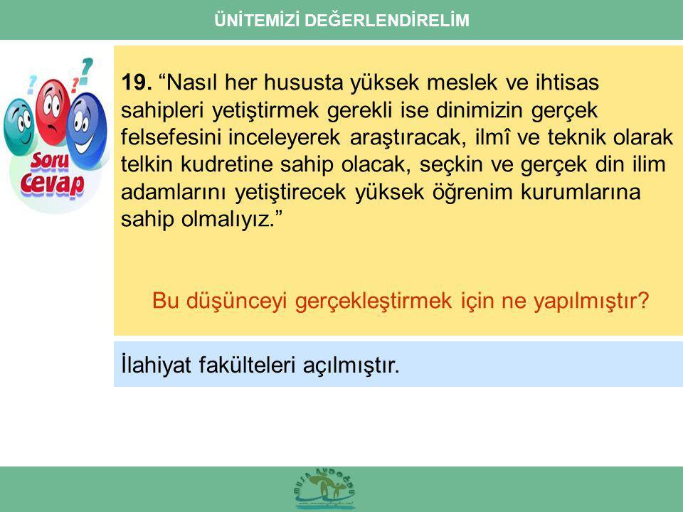 ÜNİTEMİZİ DEĞERLENDİRELİM 19.
