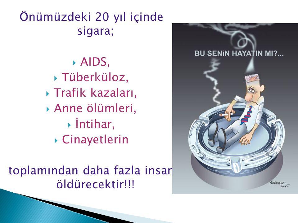 Önümüzdeki 20 yıl içinde sigara;  AIDS,  Tüberküloz,  Trafik kazaları,  Anne ölümleri,  İntihar,  Cinayetlerin toplamından daha fazla insan öldürecektir!!!
