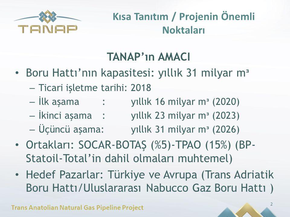 Trans Anatolian Natural Gas Pipeline Project Kısa Tanıtım / Projenin Önemli Noktaları TANAP'ın AMACI Boru Hattı'nın kapasitesi: yıllık 31 milyar m ᶟ –