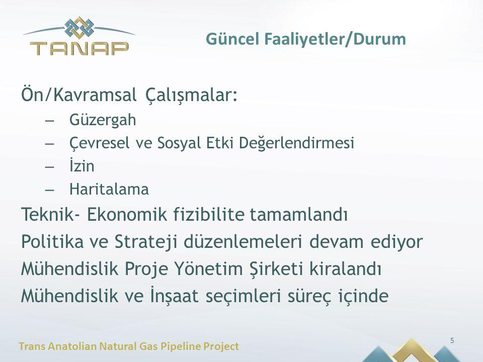 Trans Anatolian Natural Gas Pipeline Project Güncel Faaliyetler/Durum Ön/Kavramsal Çalışmalar: – Güzergah – Çevresel ve Sosyal Etki Değerlendirmesi –