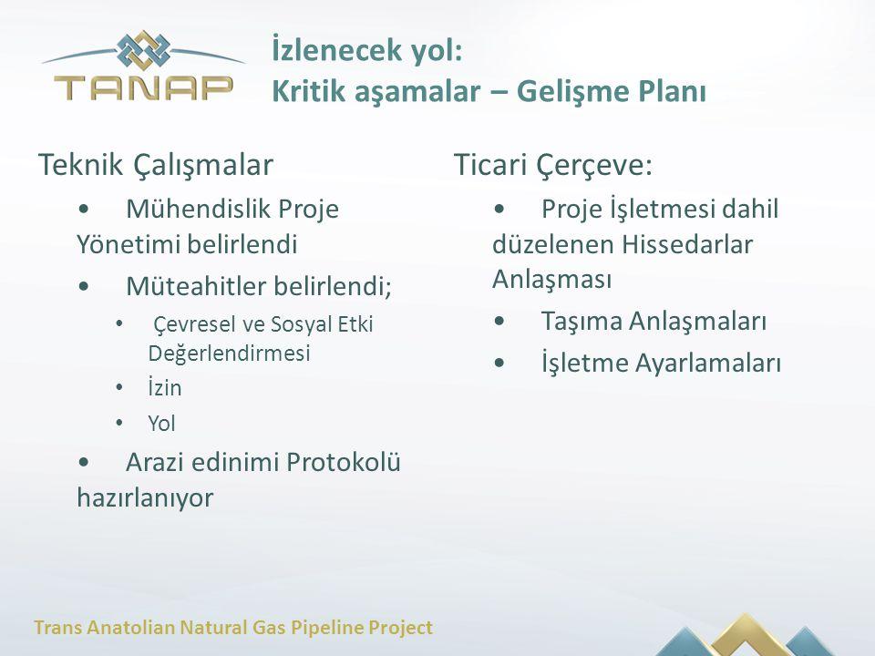 Trans Anatolian Natural Gas Pipeline Project Teknik Çalışmalar Mühendislik Proje Yönetimi belirlendi Müteahitler belirlendi; Çevresel ve Sosyal Etki D