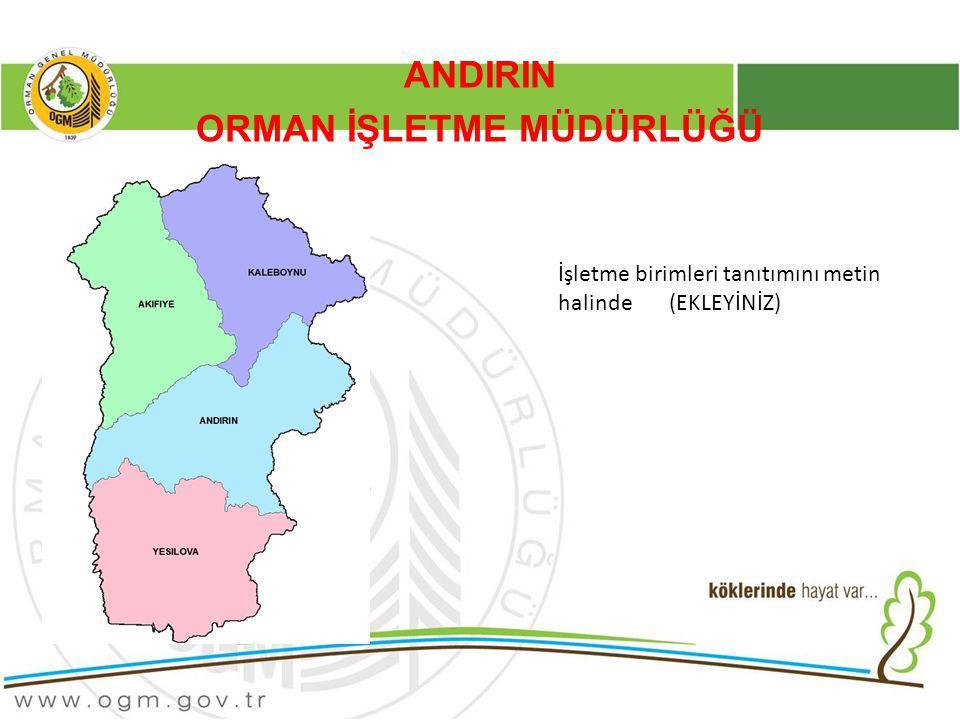 ANDIRIN ORMAN İŞLETME MÜDÜRLÜĞÜ İşletme birimleri tanıtımını metin halinde (EKLEYİNİZ)