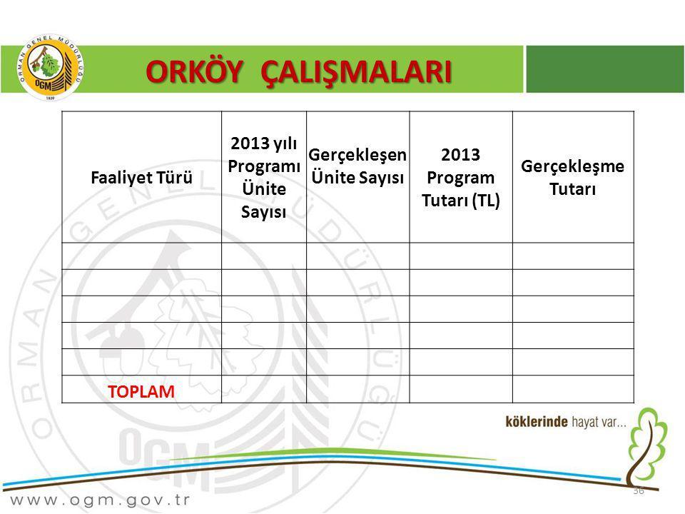 36 ORKÖY ÇALIŞMALARI Faaliyet Türü 2013 yılı Programı Ünite Sayısı Gerçekleşen Ünite Sayısı 2013 Program Tutarı (TL) Gerçekleşme Tutarı TOPLAM