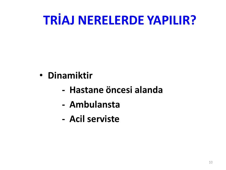 10 TRİAJ NERELERDE YAPILIR? Dinamiktir - Hastane öncesi alanda - Ambulansta - Acil serviste