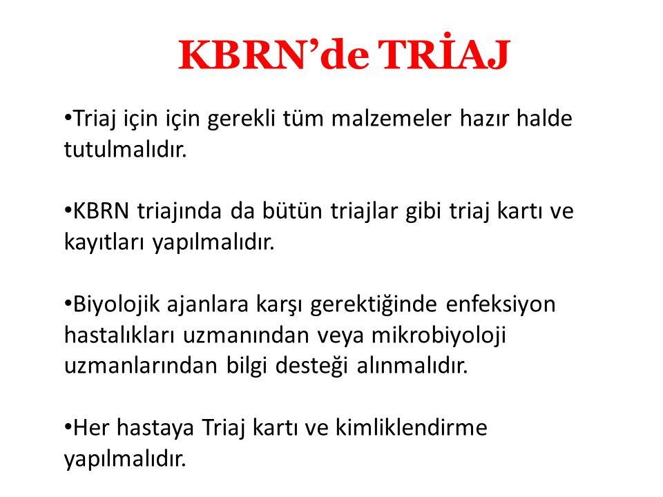 KBRN'de TRİAJ Triaj için için gerekli tüm malzemeler hazır halde tutulmalıdır.