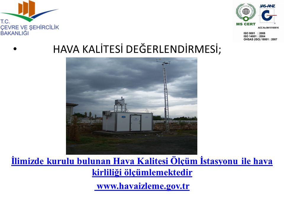 İlimizde kurulu bulunan Hava Kalitesi Ölçüm İstasyonu ile hava kirliliği ölçümlemektedir www.havaizleme.gov.tr HAVA KALİTESİ DEĞERLENDİRMESİ;