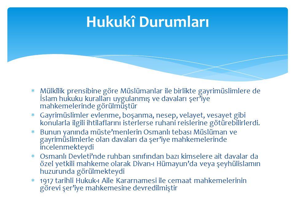  Osmanlı Devleti'nde vatandaşlar milliyetlerine göre değil, dinlerine göre guruplandırılmıştı.