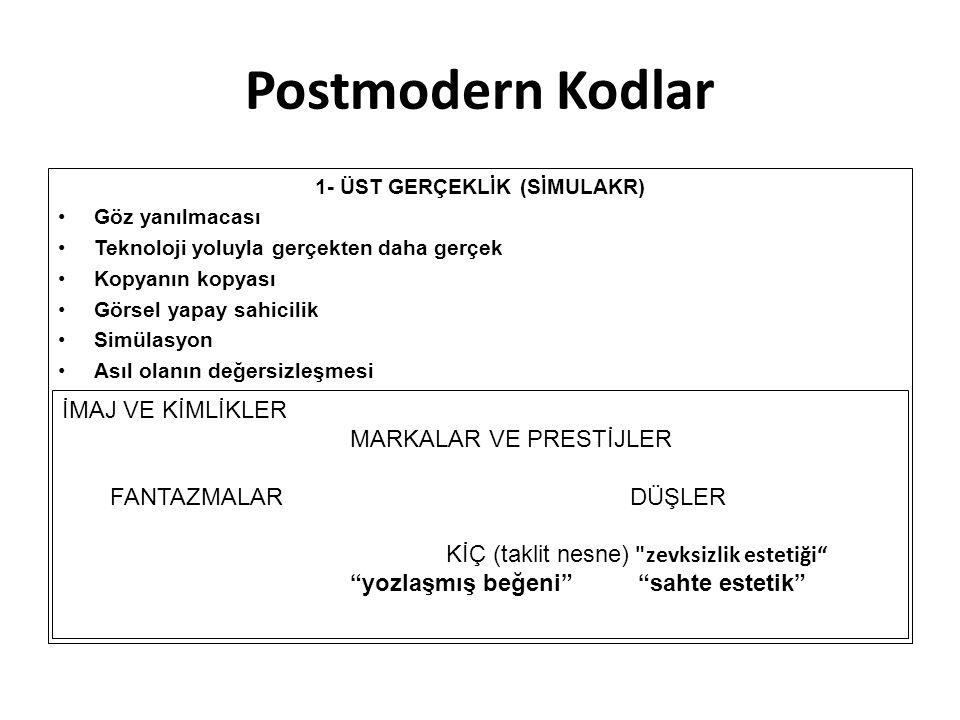 Postmodern Kodlar 1- ÜST GERÇEKLİK (SİMULAKR) Göz yanılmacası Teknoloji yoluyla gerçekten daha gerçek Kopyanın kopyası Görsel yapay sahicilik Simülasy